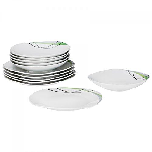 Van Well Tafelservice Donna 12tlg. - weißes Porzellan mit Linien- Dekor in schwarz, grau und grün - für 6 Personen