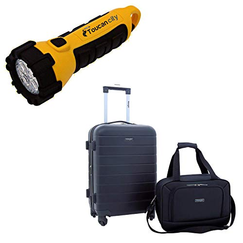 Toucan City LED Flashlight and Wrangler 2-Piece 20 in. Hardside Carry-on Set with USB Feature and 15 in. Carry-on Tote WR-20272-EX-001