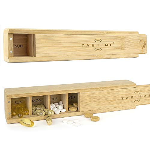 TabTime Bamboo Weekly Pill Box, 7 Day Tablet Organiser, Perfect for Vitamins, Pills and Supplements
