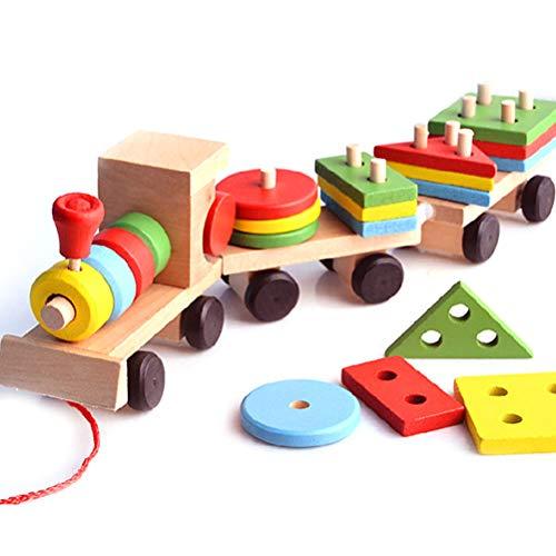 barsku - Tren de Juguete apilable de Madera con clasificador de Formas y Bloques apilables - Juguete de tracción para niños y niños - Bueno para niños autistas - Juguetes educativos Montessori