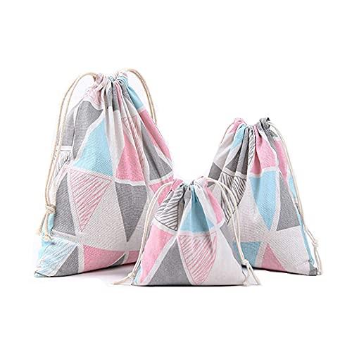 litulituhallo Bolsa esencial de viaje con cordón para niños con bonito patrón, organizador de cosméticos de 3 piezas, patrón de colores paquete de 3