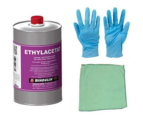 Ethylacetat flüchtiges Reinigungsmittel 1 Liter 99,95% rein inkl. 1x elastisches Microfasertuch von E-Com24