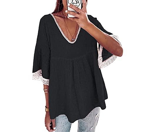 SLYZ Verano De Las Mujeres Europeas Y Americanas Tallas Grandes De Encaje Suelto Costura Camisa De Manga De Cinco Puntos Camiseta Top Mujeres