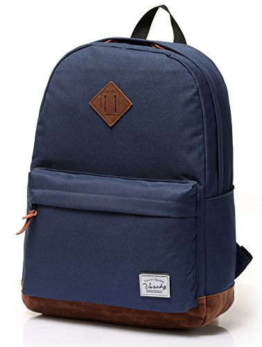 Vaschy Classic Lightweight Backpack for Men Water Resistant Campus School Rucksack Travel Backpack Fits 15-Inch Laptop Blue