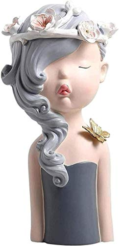 WPXBF Sculpture decoration furniture decoration gift simple modern crafts art office living room bar statue decoration accessories style resin gray cute girl