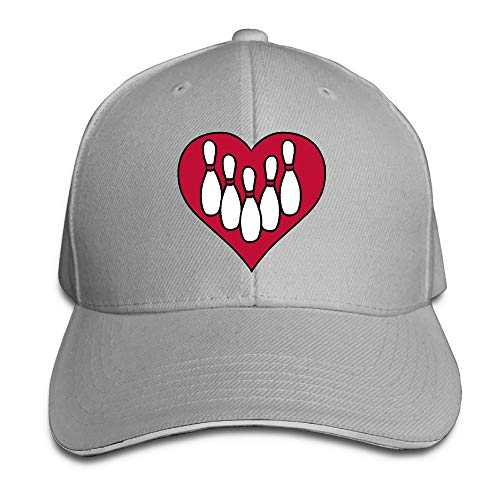 Presock Prämie Unisex Kappe Heart Love Bowling Adult Adjustable Snapback Hats
