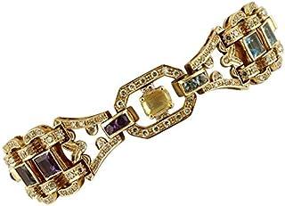Bracciale in Oro Rosa, con Diamanti, Topazi, Ametista, Peridoto e Tormalina
