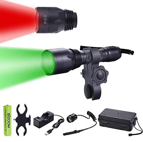 BIZOOM KL65 Green RED Hunting Flashlight Night Vision Varmint Light Kit 650 Lumen Long Range Scan Spotlight Torch for Predator Hog Fox Coyote with Universal Mount,Remote Switch,18650 Battery&Charger