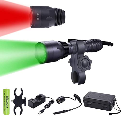 BIZOOM KL65 Green RED Hunting Flashlight Night Vision Varmint Light Kit 650 Lumen Long Range Scan Spotlight Torch for Predator Hog Fox Coyote with Universal Mount,Remote Switch,18650 Battery&Charger