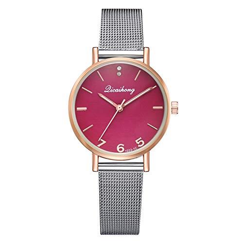 TYYW Moda Cinturón De Malla De Acero Reloj De Cuarzo Espejo Multicolor Reloj Casual Femenino (Rojo)