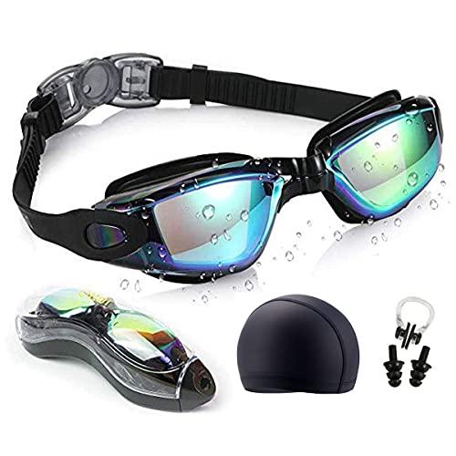 Moshbu Gafas de natación – 6 unidades, gafas de natación unisex para adultos, sin fugas, protección contra rayos UV, con funda de almacenamiento (negro)