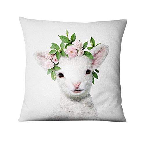 Kussen LKU Vers dier dun linnen kussen sierkussen voor woondecoratie kussen bloem, 45x45cm
