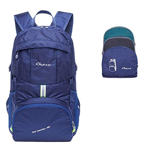 Sac à Dos léger emballable KAUKKO Sacs de Sport imperméable Petit Sac à Dos de Voyage Pliable Sac à Dos de Loisirs Durable Hommes & Femmes (Bleu)