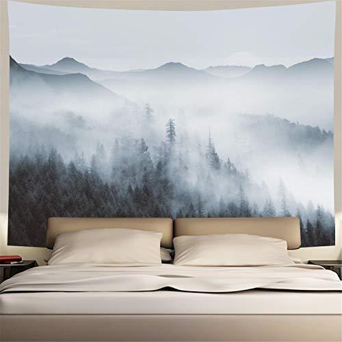 Tapeçaria Heopapin Misty Forest com tapeçaria de montanha preta e branca fantástica tapeçaria mágica de neblina tapeçaria 3D visão natural tapeçaria de paisagem para quarto, Black and White Misty Forest, X-Large