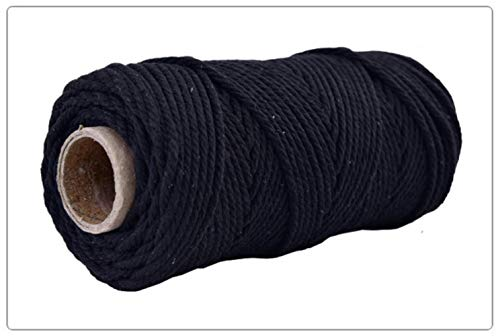 LLAAIT 4mmx100m 100% Katoen Koord Kleurrijke Koord Touw Beige Twisted Craft Macrame String DIY Bruiloft Thuis Textiel Decoratieve levering Zwart