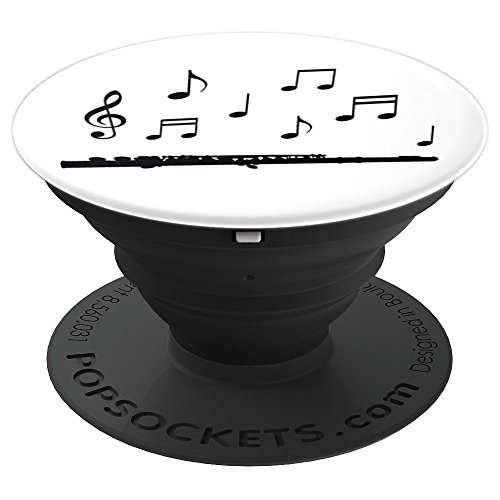 Flute Playing Notes Marching Band Instruments Woodwinds PopSockets Grip and Stand for Phones and Tablets