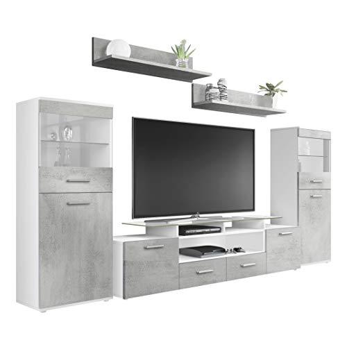 Vladon Wohnzimmer Wohnwand Anbauwand Schrankwand Almada V2, Korpus in Weiß matt/Front in Beton Oxid Optik