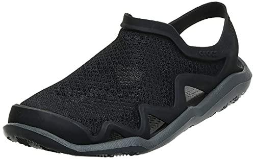 Crocs Men's Swiftwater Mesh Wave Sandals Water Shoe, Black/Slate Grey, 11