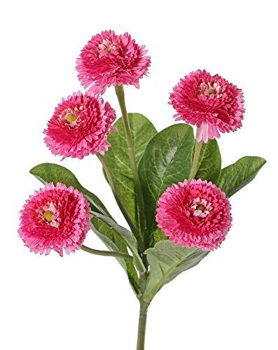 artplants.de Set de 12 x Margarita simulada Heike con Vara, Rosa, 25cm, Ø 4,5cm - Pack Margaritas sintéticas - Paquete de Plantas Artificiales