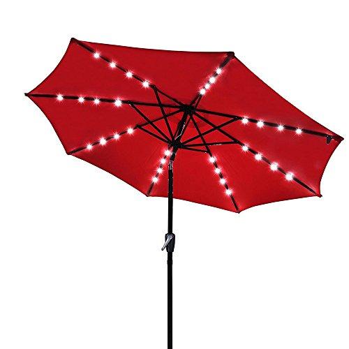Yescom 9' Outdoor Solar Powered LED Umbrella 8 Ribs w/ 32 Lights for Patio Garden Deck Crank Tilt UV30 Red
