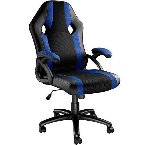 TecTake Chaise de Bureau Fauteuil siège Racing Sport Tissu - diverses Couleurs au Choix - (Noir-Bleu | No. 403491)