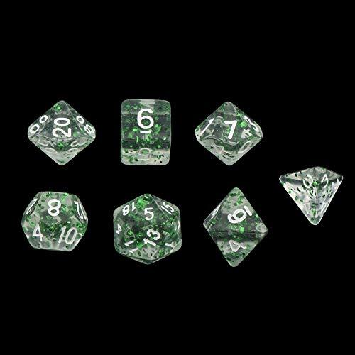 EQVUDJT 14pcs Dados poliédricos Dados Polyedral Dados Dies DIERNOS Y DRABONS D20 D12 D10 D8 D6 D4 Tabla de Mesa Juego para Juego de Mesa (Color : Transparent Green)