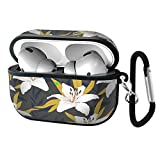 Slim Form Fitted Printing Pattern Cover Case with Carabiner Compatible with Airpods Pro 2019 / Lily Flowers with Branches and Leaves Scattered Random