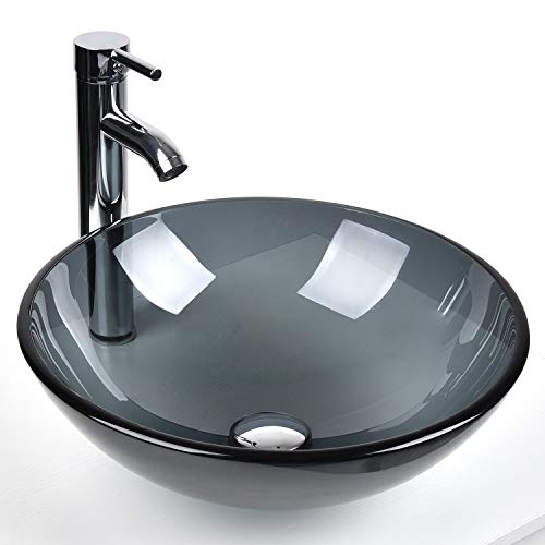 Bathroom Round Glass Vessel Sink Basin with Faucet Pop-Up Drain (Bluish Grey Crystal)