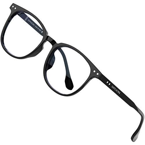SIPLION Blaulichtfilter Brille Damen Herren ohne sehstärke Blockieren Blaulicht Gaming brille Computerbrille BL7555 Black