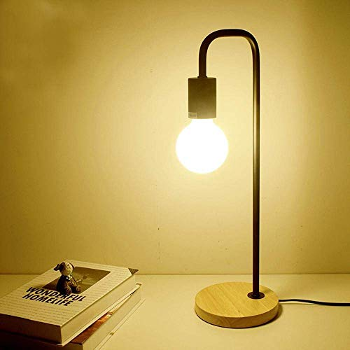 DEJ creatieve bureaulamp moderne Scandinavische industriële eenvoudige led bureau lamp met ijzer lichaam, eiken basis schakelaar slaapkamer, studie, decoratie, zwart