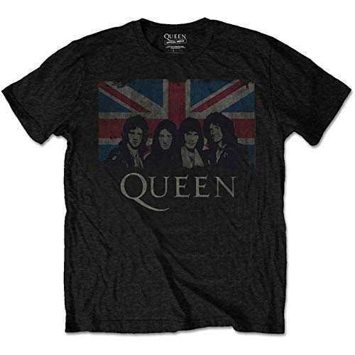 Queen Band and British Union Flag T-shirt, Licensed, S to XXL