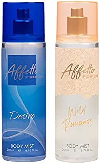 Affetto By Sunny Leone Desire & Wild Romance Body Mist - For Women 200ML Each (400ML, Pack of 2)