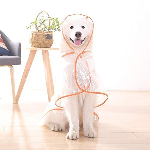 Hond regenjas grote honden middelgrote honden grote hond 柯基拉布拉 meerdere gouden waterdichte poncho paraplu huisdier XL- Bust 46-50cm Terug lengte 40cm (aanbevolen lichaamsgewicht 11-15 kg) (oranje kant is meer geschikt voor witte haren hond) Big Dog doorzichtige regenjas