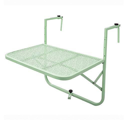 Klaptafel balkontafel in hoogte verstelbaar op massieve hoogte om op te hangen aan de reling, geschikt voor diner in de tuin en barbecue of als bijzettafel. 100×60cm/39×24inch Groen