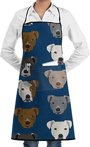 Chef Schürze Küche Lätzchen Pitbull Heads Adjustable Bib Apron Extra Long Ties with Pockets Home Kitchen Cooking Baking Gardening Apron for Women Men