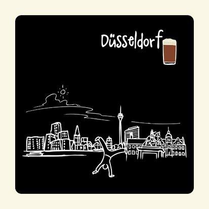 die stadtmeister Untersetzer Skyline Düsseldorf (schwarz) - als Geschenk für Düsseldorfer & Fans der Metropole am Rhein oder als Düsseldorf Souvenir