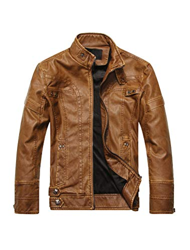 PASOK Men's Faux Leather Jacket Vintage Stand Collar Motorcycle PU Leather Outwear Coat Brown L