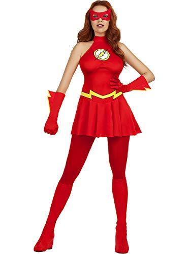 Funidelia | Disfraz de Flash Oficial para Mujer Talla XS ▶ Superhéroes, DC Comics, Justice League - Color: Rojo - Licencia: 100% Oficial - Divertidos Disfraces y complementos