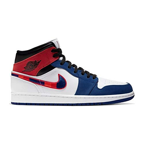 Nike Herren AIR Jordan 1 MID SE Basketballschuh, White Univ Red Rush Blue Black, 41 EU