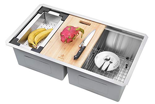 STARSTAR Workstation Ledge Undermount Double Bowl 304 Stainless Steel Kitchen Sink, With Two Grids, Colander, Cutting Board, Two Strainers (32.75 x 19 x 10 50/50)