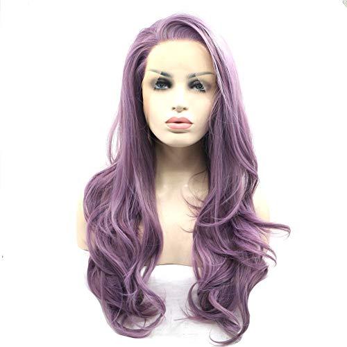 JAFA Cheveux Synthétique Avant De Lacet Perruques Long Ondulé Violet Dentelle Perruque Vague Dentelle Perruques Maquillage Quotidien Reine Présent Mariage De Partie De Halloween