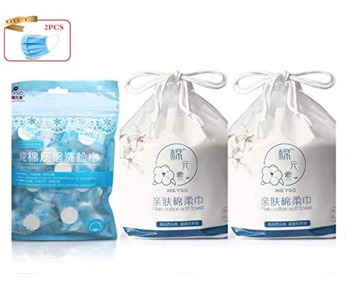 Ruihua Lot de 2 rouleaux d'essuie-mains jetables en coton avec chiffon de toilette comprimé, essuie-glaces jetables en tissu non tissé