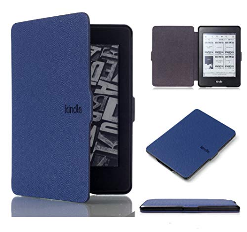 Kepuch Custer Funda para Kindle Paperwhite 1/2/3 2012 2013 2015 2016,Slim Smart Cover Fundas Carcasa Case Protectora de PU-Cuero para Kindle Paperwhite 1/2/3 2012 2013 2015 2016 - Azul