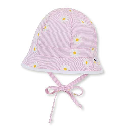 """Sterntaler - Mädchen Baby Kinder Sonnenhut mit LSF UV-Schutz 15 Fischerhut zum Binden mit Ohrenklappen """"Blumen/gestreift"""", rosa – 1402016, Größe 49"""