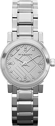 Swiss Rare Diamonds BU9213 - Reloj de pulsera para mujer de acero inoxidable con esfera plateada de 26 mm