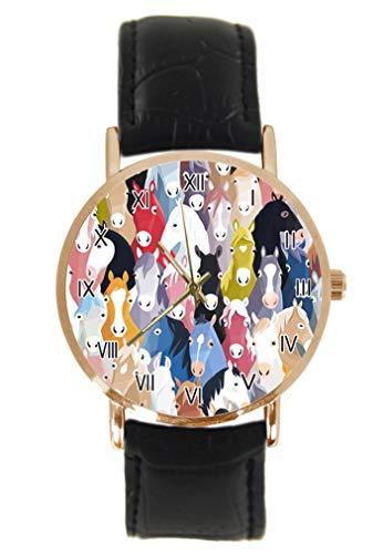 Reloj de pulsera con diseño de caballos de dibujos animados de colores de moda clásico unisex analógico de cuarzo de acero inoxidable con correa de cuero