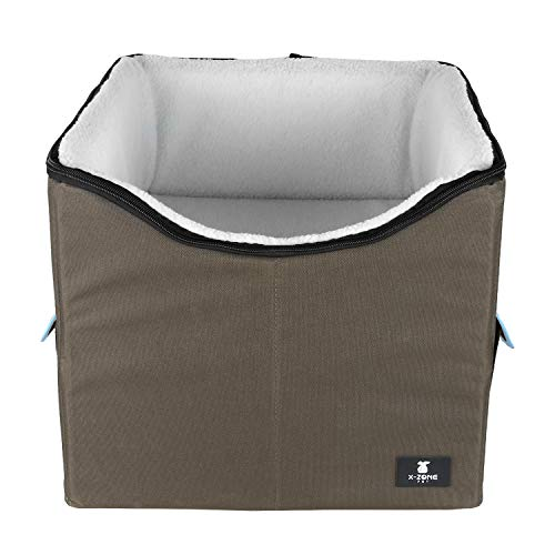 X-ZONE PET Dog Booster Car Seat/Pet Bed at Home, with Pockets and Carrying case,Easy Storage and Portable (Medium, Blue)