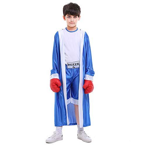 ACCLD Halloween-Kostüm Zweifarbige Kindersportbekleidung Rot Und Blau Boxer Kinder Boxwettbewerb Kostüm,Blau,XL