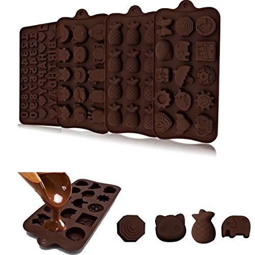 Generies 4 PCS à Chocolat en Silicone, Figurines, Animaux, Ananas, éléphant, moules à Barres de Chocolat, Moule de Cuisson Bricolage à la Main réutilisable antiadhésif