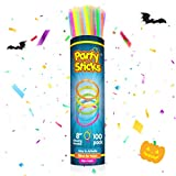 PartySticks Glow Sticks Bulk Party Favors 100pk with Connectors - 8 Inch Glow in the Dark Party Supplies, Neon Party Glow Necklaces and Glow Bracelets